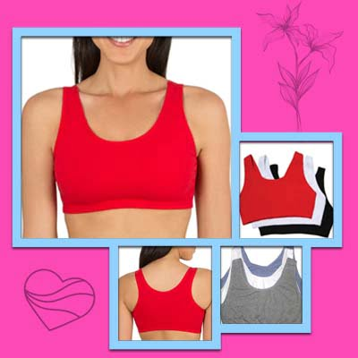 Built-Up Tank-Style Cotton Bra For Large Breasts