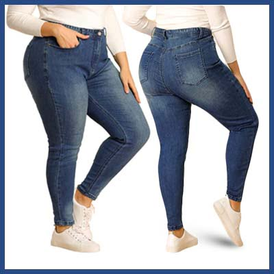 uxcell Women's Plus Size Denim Jean Stretch Zip Washed Mid Rise Skinny Jeans Casual Pants